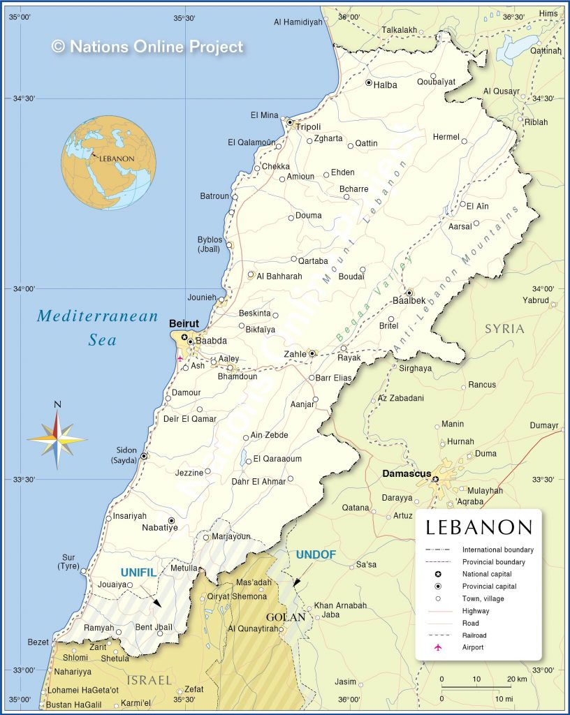 Political map of Lebanon